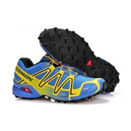 Salomon Speedcross 3 CS Trail Running In Light Blue Yellow Shoe For Men