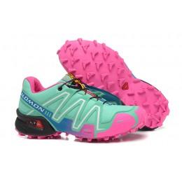 Salomon Speedcross 3 CS Trail Running In Blue Green Pink Shoe For Women
