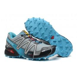 Salomon Speedcross 3 CS Trail Running In Grey Lack Blue Shoe For Women