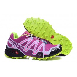 Salomon Speedcross 3 CS Trail Running In Purple Fluorescent Green Shoe For Women