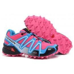 Salomon Speedcross 3 CS Trail Running In Sky Blue Rose Red Shoe For Women