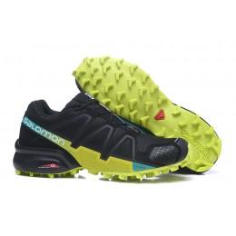 Salomon Speedcross 4 Trail Running In Black Fluorescent Green Shoe For Men