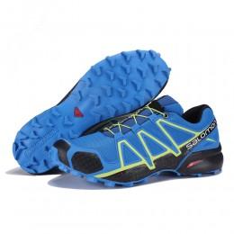Salomon Speedcross 4 Trail Running In Blue Yellow Shoe For Men