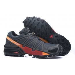 Salomon Speedcross 4 Trail Running In Deep Gray Red Shoe For Men