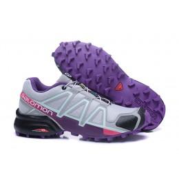 Salomon Speedcross 4 Trail Running In Grey Purple Shoe For Women